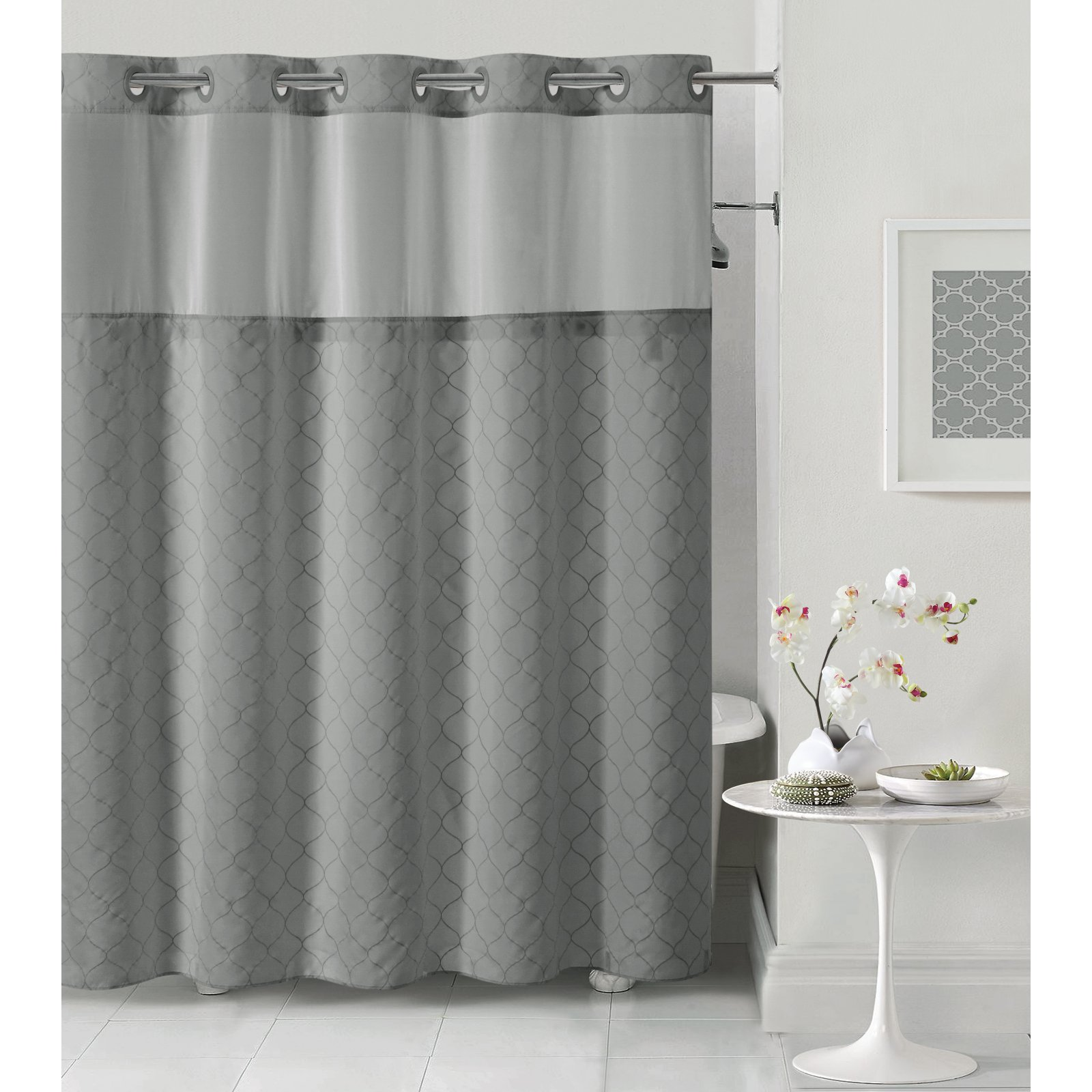 Hookless Dark Gray Mosaic Polyester Shower Curtain by Hookless