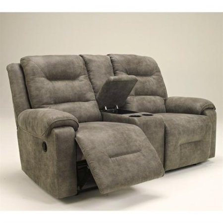 Rotation Double Rec Loveseat with Console Smoke - Signature Design by Ashley