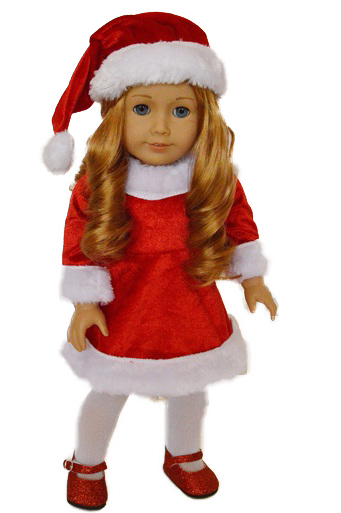 My Brittany's Santa Dress for American Girl Dolls, My Life as Dolls, 18 inch Doll Clothes,... by