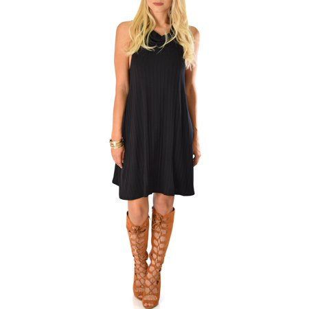 Stone Dress Clip - Lyss Loo Groove Thing Ribbed Cowl Neck Shift Dress