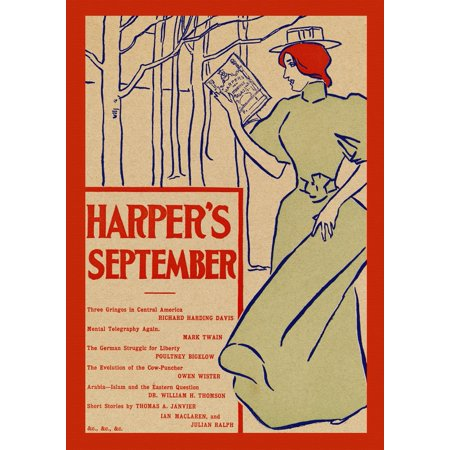 A woman reads Harpers New Monthly Magazine Poster Print by  Edward Penfield