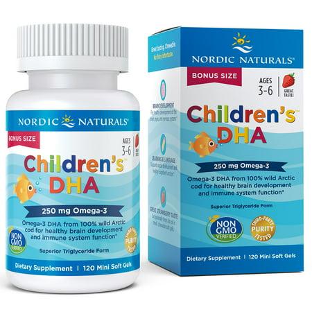 Nordic Naturals Children's DHA Mini Softgels, 250 mg, 120