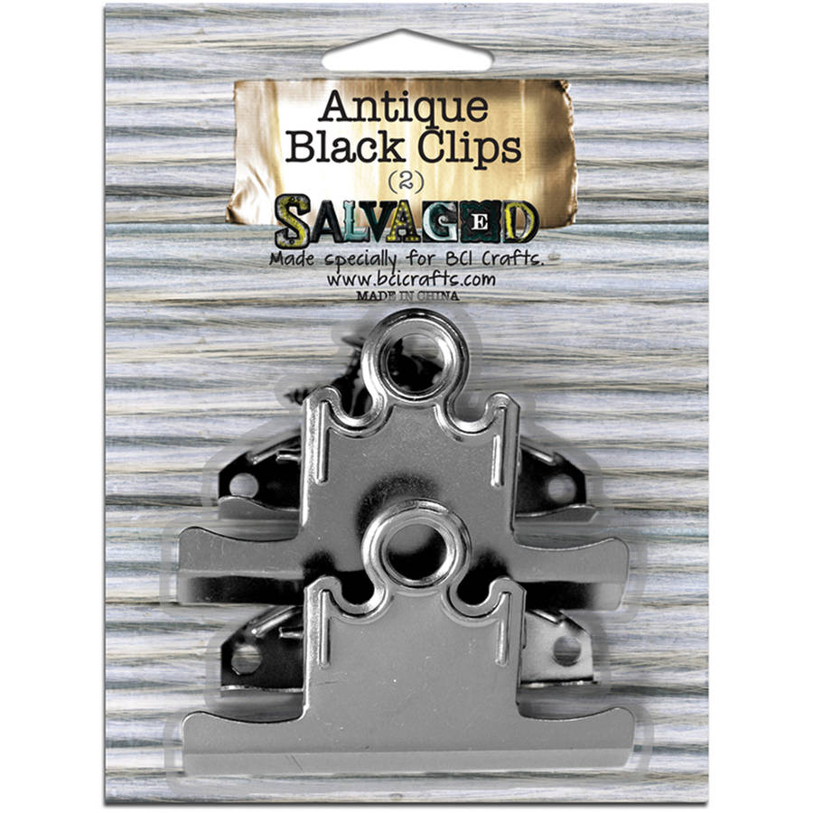 Salvaged Antique Black Clips, 2pk