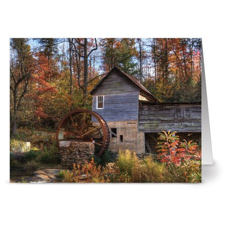 24 Note Cards - Rustic Mill in Fall - Blank Cards - Kraft Envelopes Included