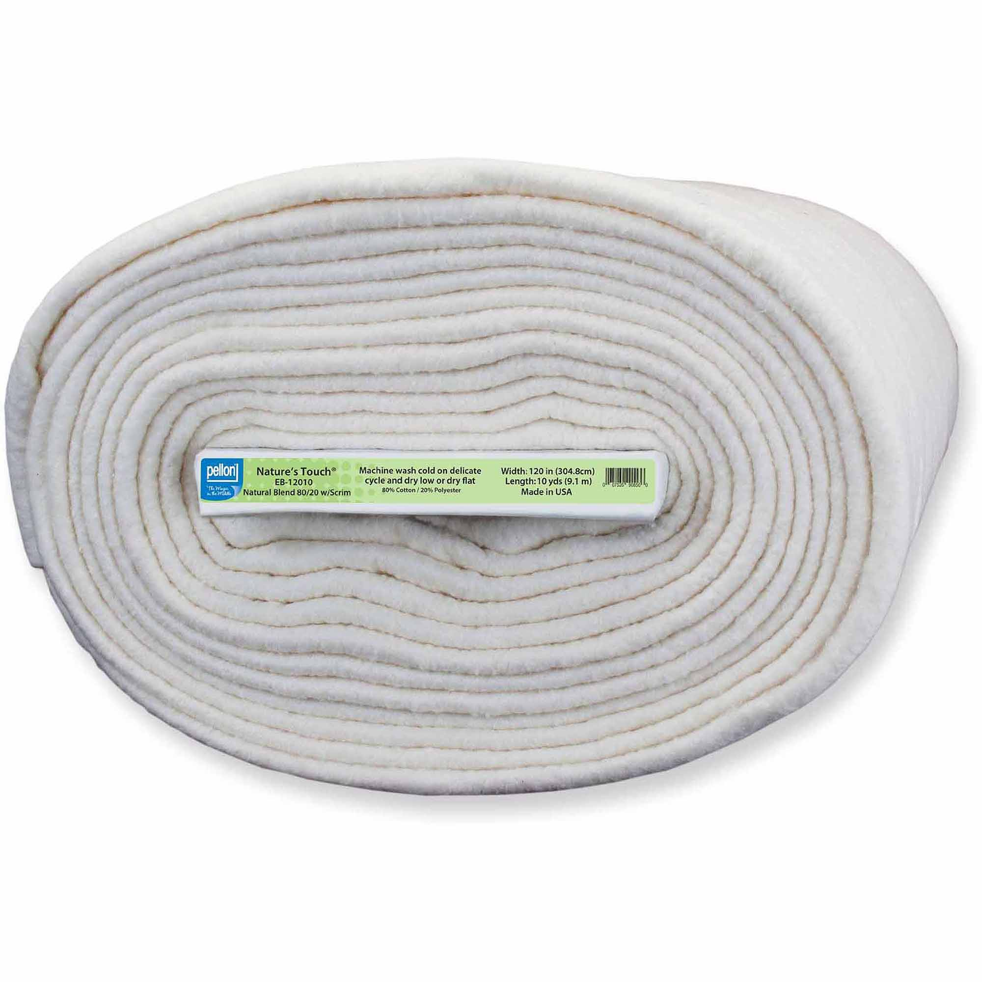"Pellon Natures Touch Natural Blend 80/20 Batting with Scrim, 120"" Wide, 2 Size Options"