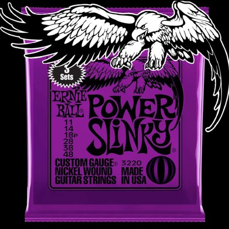 Ernie Ball 2220 Power Slinky Nickel Round Wound Electric Guitar Strings 3 Pack