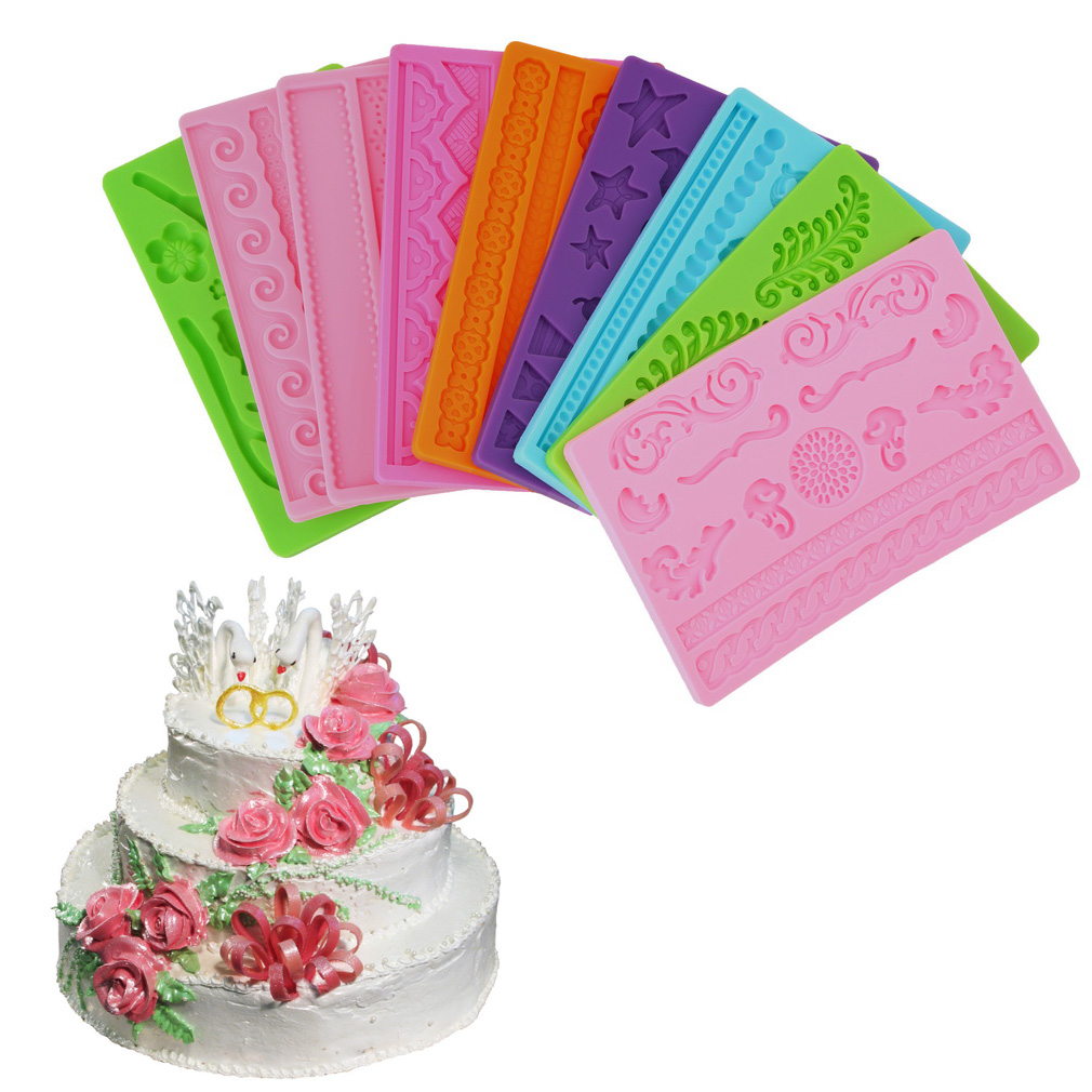 Click here to buy Silicone Fondant Cake Embossing Gum Paste Decorating Baking Mold Mould.