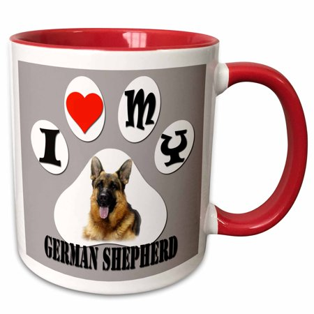 3dRose I love my German Shepherd. The smartest dog. Best friend. - Two Tone Red Mug, (Best Brands In Germany)