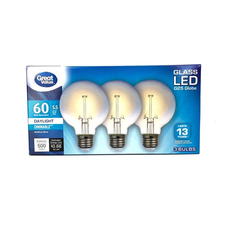 Great Value 60W Equivalent G25 Globe LED Light Bulb, Dimmable, Daylight, For CA Residents, 3-Pack Clear G25 Globe Light Bulb