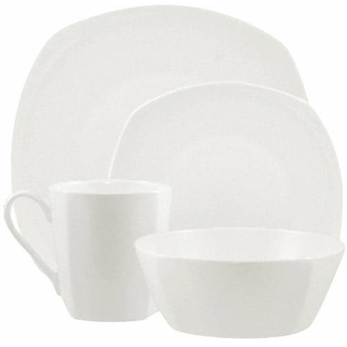10 Strawberry Street Dali Bone China 16-Piece Square-Round Dinnerware Set, White
