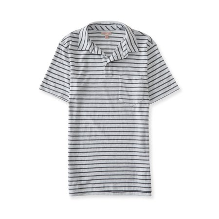 Aeropostale Mens Striped Pocket Rugby Polo Shirt