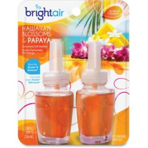 Bright Air Electric Scented Oil Air Freshener Refill - Oil - Hawaiian Blossom, Papaya - 45 Day - 2 / Pack (bri-900256)