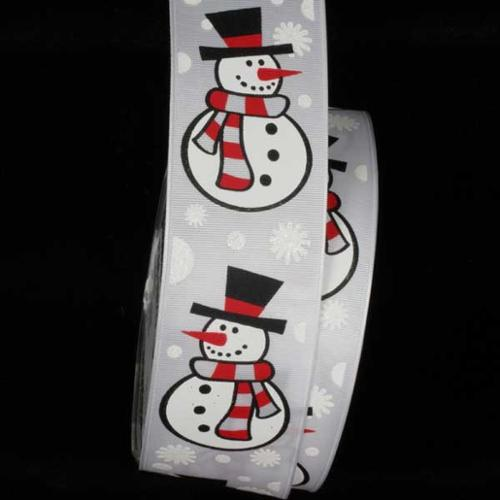 "White Winter Wonderland ""Snowman"" Wired Craft Ribbon 1.5"" x 27 Yards"