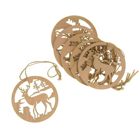 Custom Round Ornament (Hanging Laser-Cut Round Reindeer Christmas Tree Ornament, 3-Inch, 6-Piece )