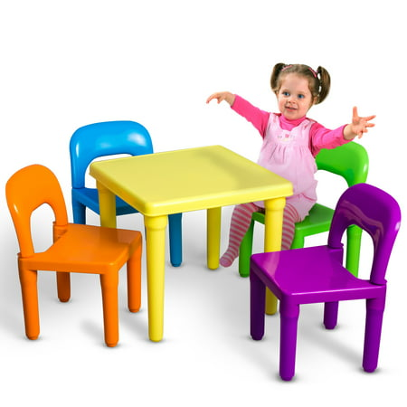 OxGord Kids Table And Chairs Play Set For Toddler Child Toy Activity Furniture Indoor Or Outdoor](Art Tables For Toddlers)