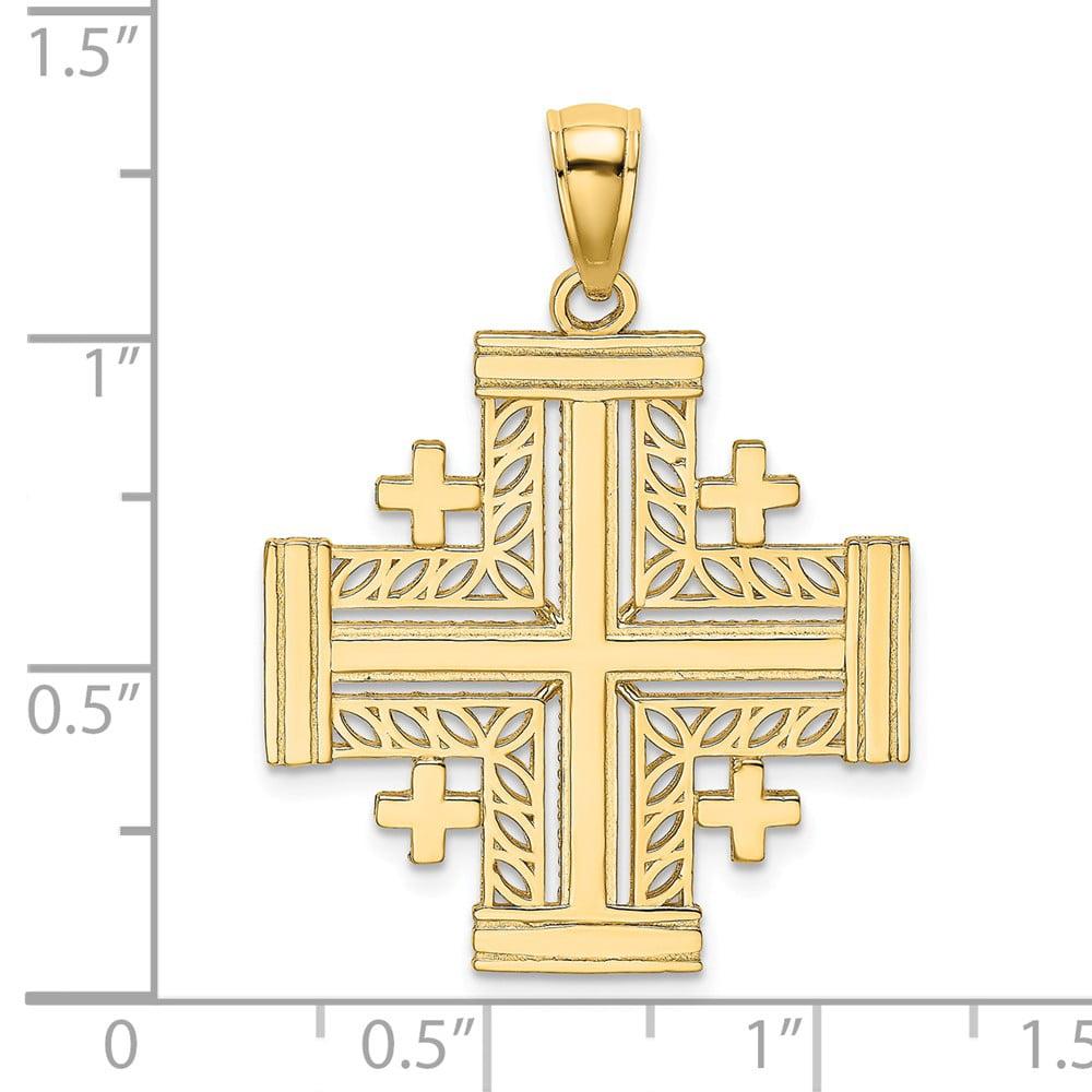 Men FB Jewels 14K Rose Gold Beaded Cross Pendant Jewelry park4dis.org