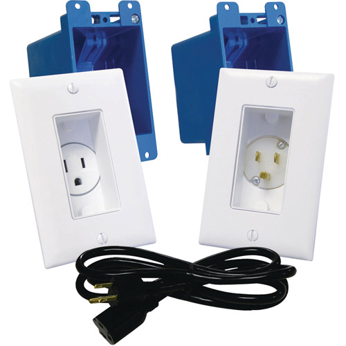 Midlite Decor Recessed Receptacle and Power Inlet Kit, White