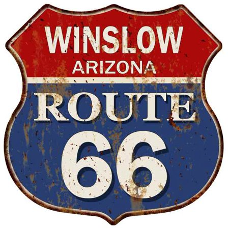 WINSLOW, ARIZONA Route 66 Shield Metal Sign Man Cave Garage 211110013008