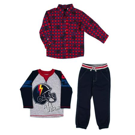 Woven Button-up Shirt, Long Sleeve T-shirt & Jogger Pants, 3pc Outfit Set (Toddler Boys)
