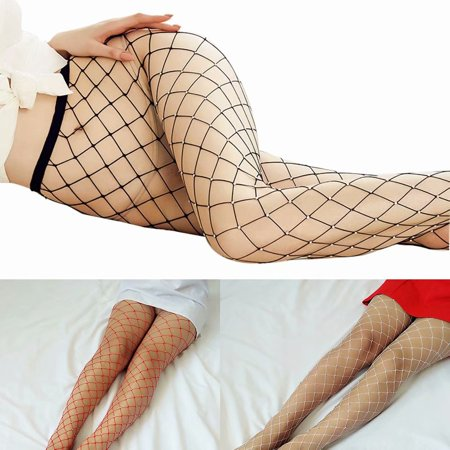 Sexy Women Fishnet Stocking High Waisted Mesh Stockings Tights Pantyhose with Crystal Rhinestone,Red - Red White Stripe Tights
