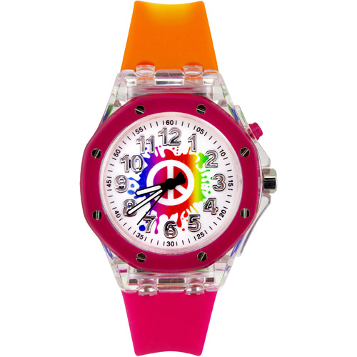 Peace Sign Flashing Watch, Multi-Color