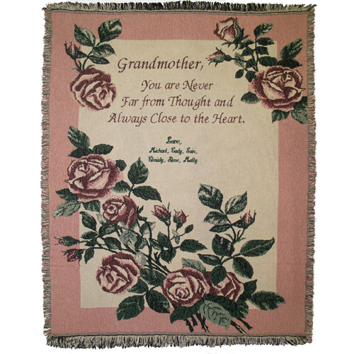 Personalized Grandmother's Roses Throw