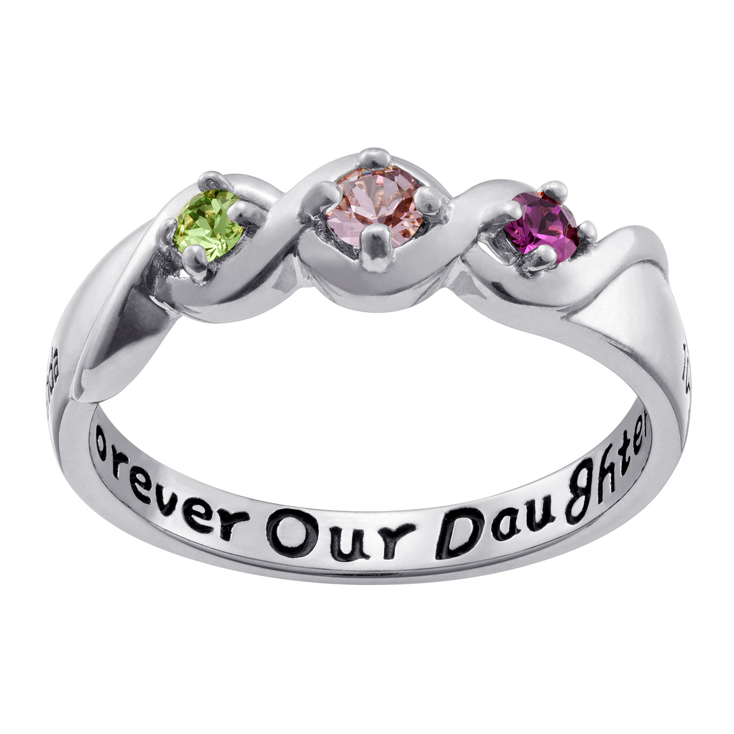 Family Jewelry Personalized Daughter's Name and Date Birthstone Ring in Sterling Silver