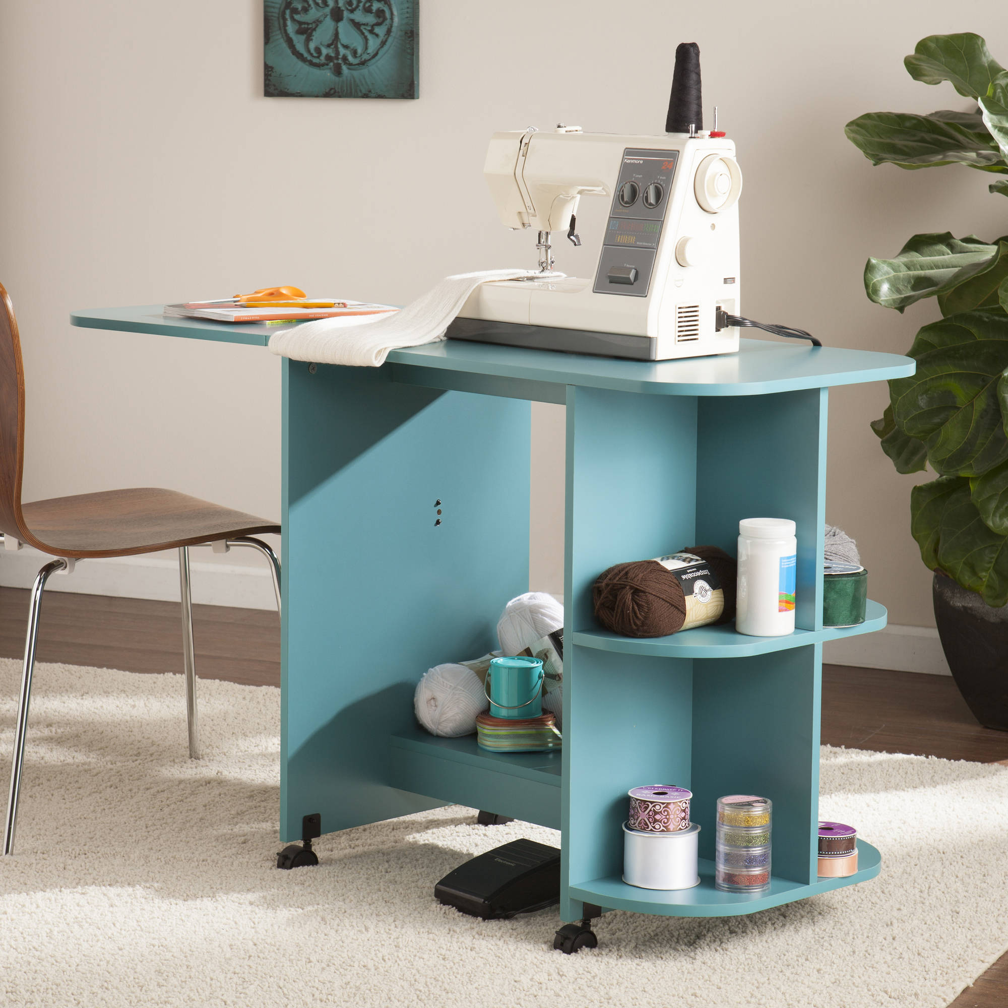 Southern Enterprises Sewdol Expandable Rolling Sewing Table/Craft  Station,Turquoise