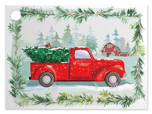 6 Pk Tree Farm Christmas Truck Theme Gift Cards 3 75 X 2 75 For Gift Basket Or Gift Bag Walmart Com Walmart Com