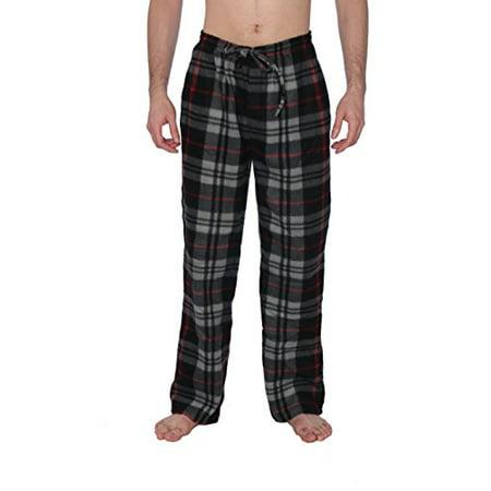 Active Club Mens Plaid Plush Pajama Pants (2-XLarge, Black & Gray Plaid)