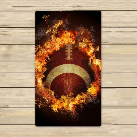 GCKG Spirit of Flaming American Football Beach Towel Shower Towel Wrap For Home and Travel Use Size 16x28 - Football Towel