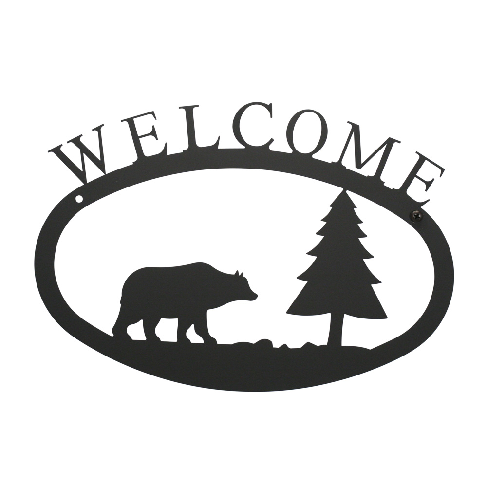 WEL-83-S 1 EACH Bear & Pine - Welcome Sign Small