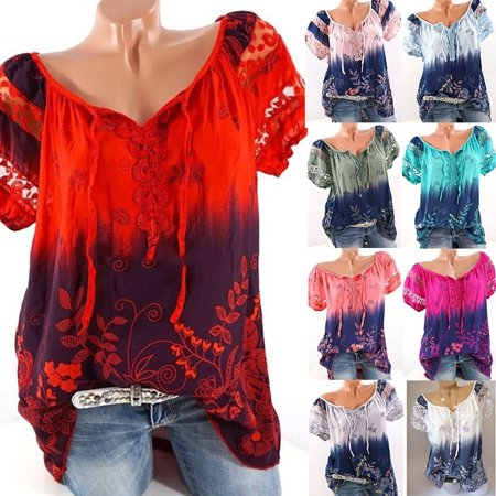 Fashion Women Short Sleeve Gradient Color Shirt Summer Print Lace Hollow Bandage Blouse Casual Loose -