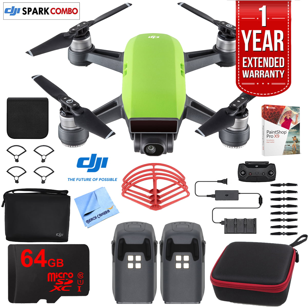 DJI SPARK Fly More Drone Combo (Meadow Green) With Custom Hard Case, 64GB High Speed Card, Corel Paint Version... by DJI