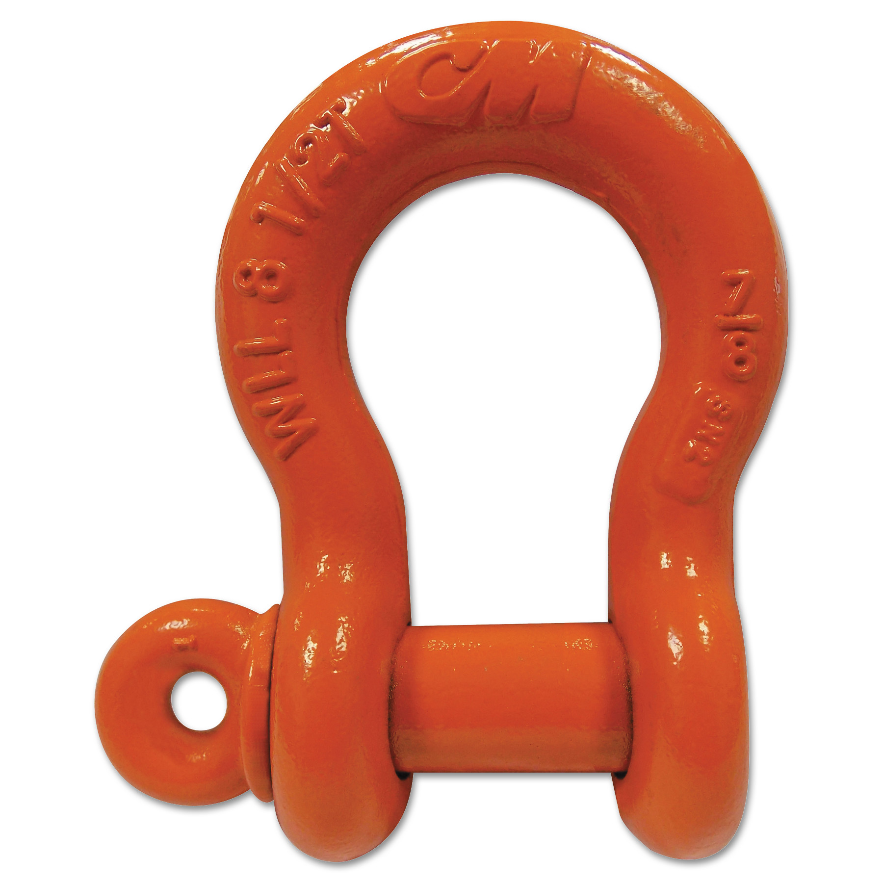CM Columbus McKinnon Screw Pin Anchor Shackles, 1 1/4 in Bail Size, 3.3 Tons, Orange Paint