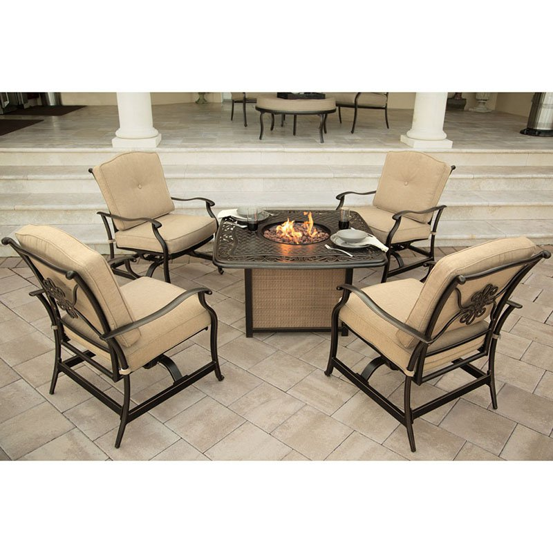 Hanover Outdoor Traditions 5-Piece Cast-Top Firepit Conversation Set, Natural Oat Bronze by Hanover Outdoor