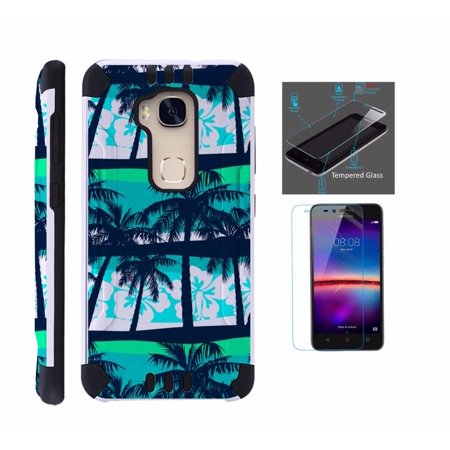 For Huawei Sensa 4G LTE Case + Tempered Glass Screen Protector / Slim Dual Layer Brushed Texture Armor Hybrid TPU KomBatGuard Phone Cover (Palm Tree)