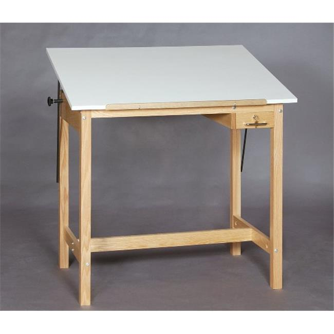 SMI F3042-37A Natural Oak Finish Drafting Table, 30 X 42 in.