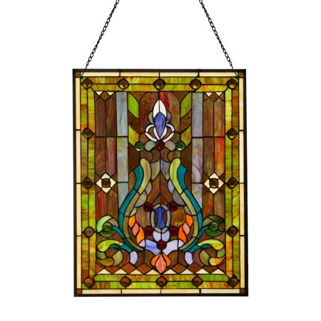 River of Goods Stained Glass Fleur de Lis Window Panel](Stained Glass Clearance)