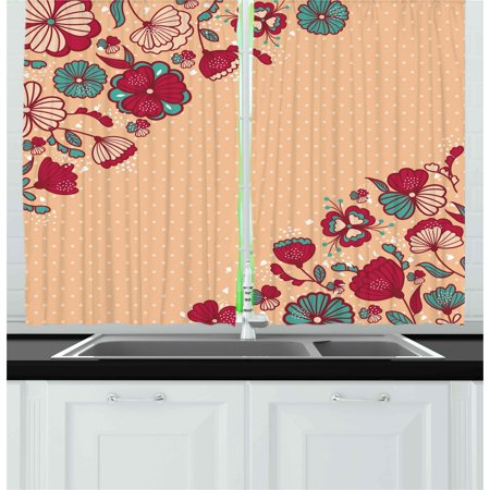 Dot Flowers (Floral Curtains 2 Panels Set, Nature Beauty Flowers on Nostalgic Polka Dots Background Artsy Illustration, Window Drapes for Living Room Bedroom, 55W X 39L Inches, Teal Ruby Salmon, by)