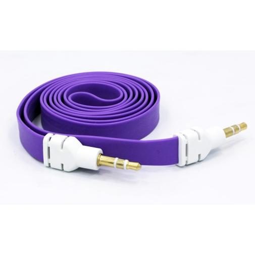 Purple Flat Aux Cable Car Stereo Wire Audio Speaker Cord 3.5mm Jack Adapter Auxiliary [Tangle Free] 19 for Samsung Galaxy J3 J5 J7, Note 3 4 5 Edge, S5 S6 Edge Edge+ S7 Edge S8 S8+