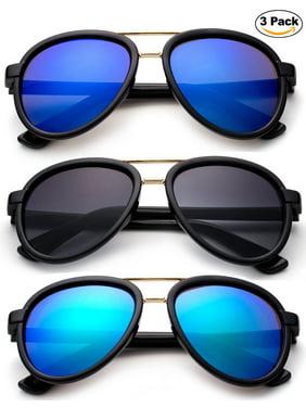 Newbee Fashion 3 Pack -Kids Girls Boys Plastic Aviator Sunglasses with Metal Bridge Stylish Fashion Kids Sunglasses with Flash Mirrorrd Lens UV Protection Lead Free High Quality