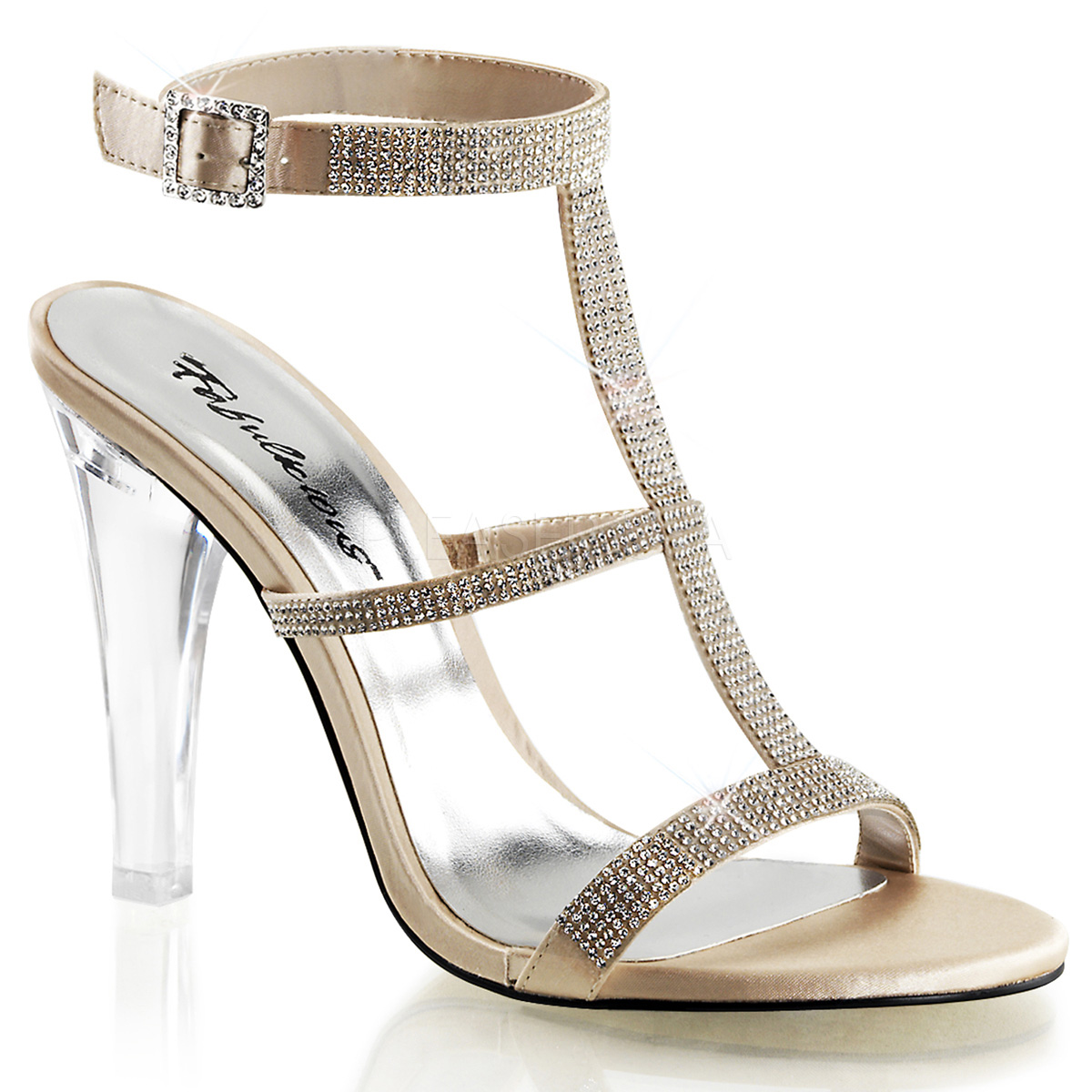 CLEARLY-418, 4 1/2 Inch Heel with Sling Back Sandal