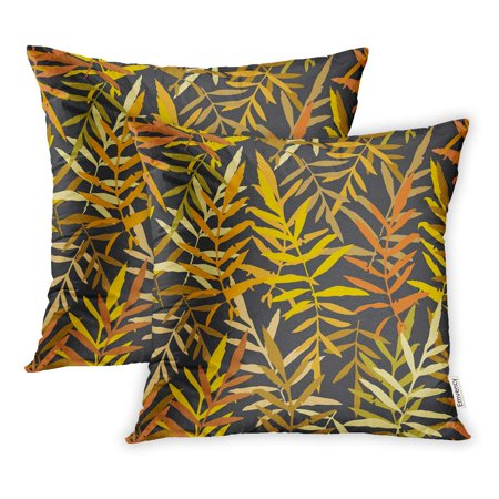 Real Gold Leaf - ECCOT Leafs Tropical Fern Palm for Gold Yellow Mustard Orange Brown Silhouette Pillowcase Pillow Cover 16x16 inch Set of 2