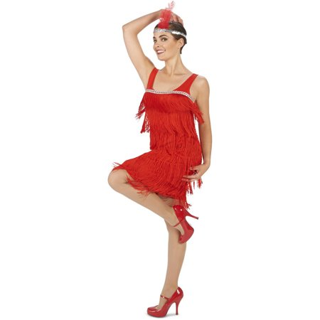 Roaring 20s Red Flapper Women's Adult Halloween Costume - Easy Homemade Costume For Adults
