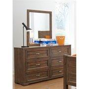 My Home Furnishings Logan- Driftwood 1301-102201 6 Drawer Dresser & Vertical Mirror