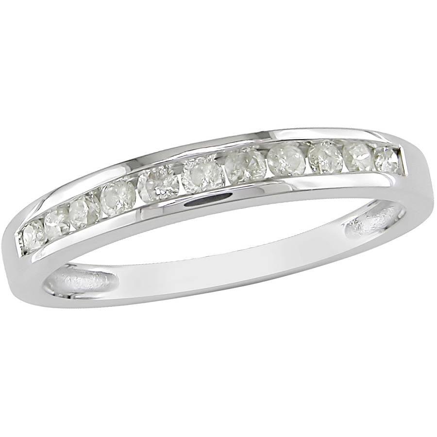 Miabella 1/4 Carat T.W. Diamond 10kt White Gold Semi-Eternity Anniversary Ring