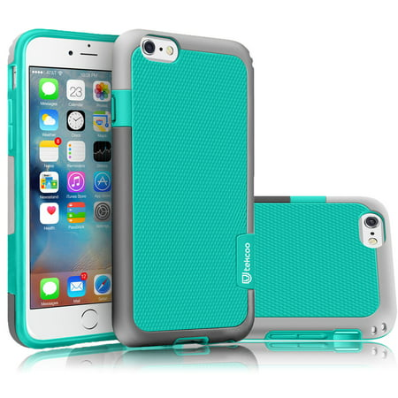 iPhone 6S Case, iPhone 6 Sturdy Case, Tekcoo [TLord Series] [Turquoise/Grey] iPhone 6 / 6S (4.7 INCH) Cases Shock Absorbing Hybrid Best Impact Defender Rugged Slim Protective Cute Bumper Cover (Best Application For Iphone 4)