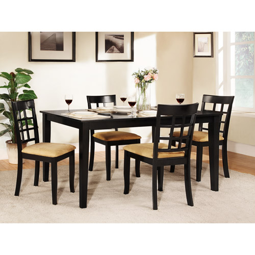 "Lexington 5-Piece 60"" Width Table Dining Set with Window Back Chairs, Black"