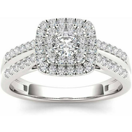 Imperial 3/4 Carat T.W. Diamond Double Halo 10kt White Gold Engagement Ring